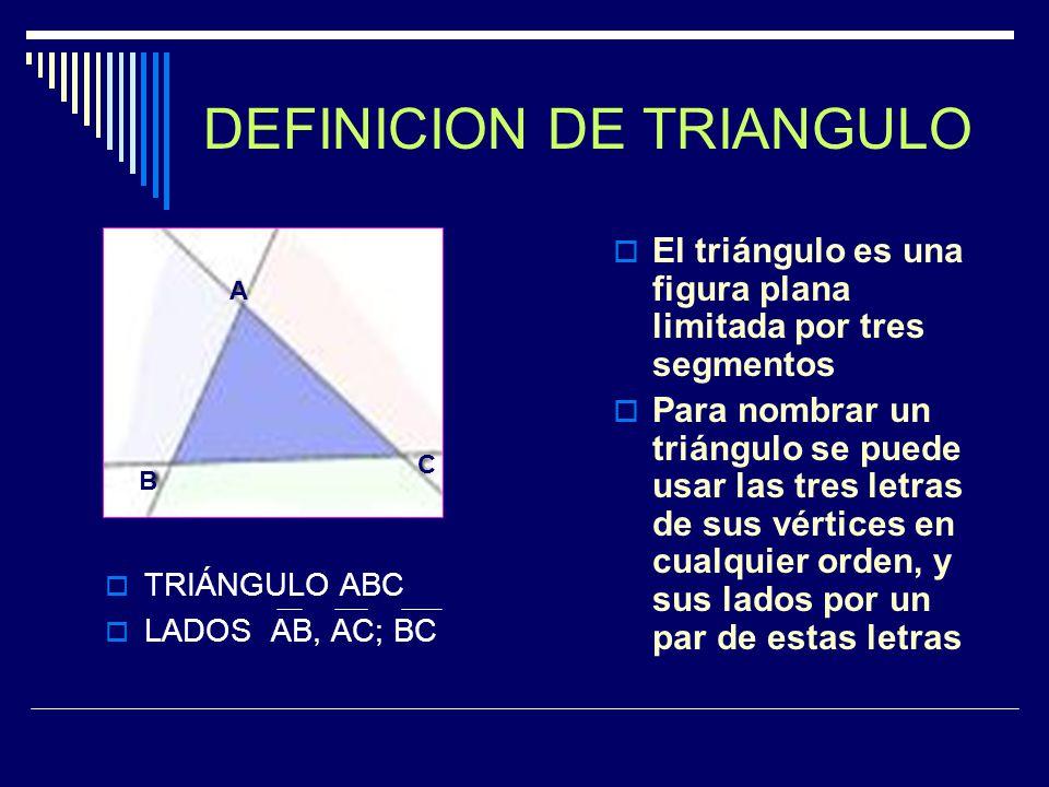 Los triángulos se pueden clasificar según la medida de sus lados de la siguiente forma: A) Triángulo Equilátero: Tiene sus tres lados de igual medida.