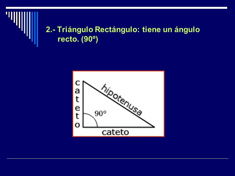 Triángulo Obtusángulo : tiene un ángulo obtuso. (mayor que 90º y menor que 180º) < 180º