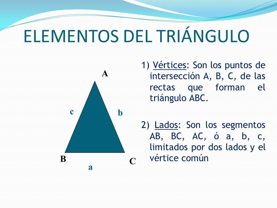 ELEMENTOS DEL TRIÁNGULO 1) Vértices: Son los puntos de intersección A, B, C, de las rectas que forman el triángulo ABC.