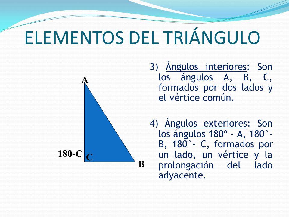 ELEMENTOS DEL TRIÁNGULO 3) Ángulos interiores: Son los ángulos A, B, C, formados por dos lados y el vértice común.