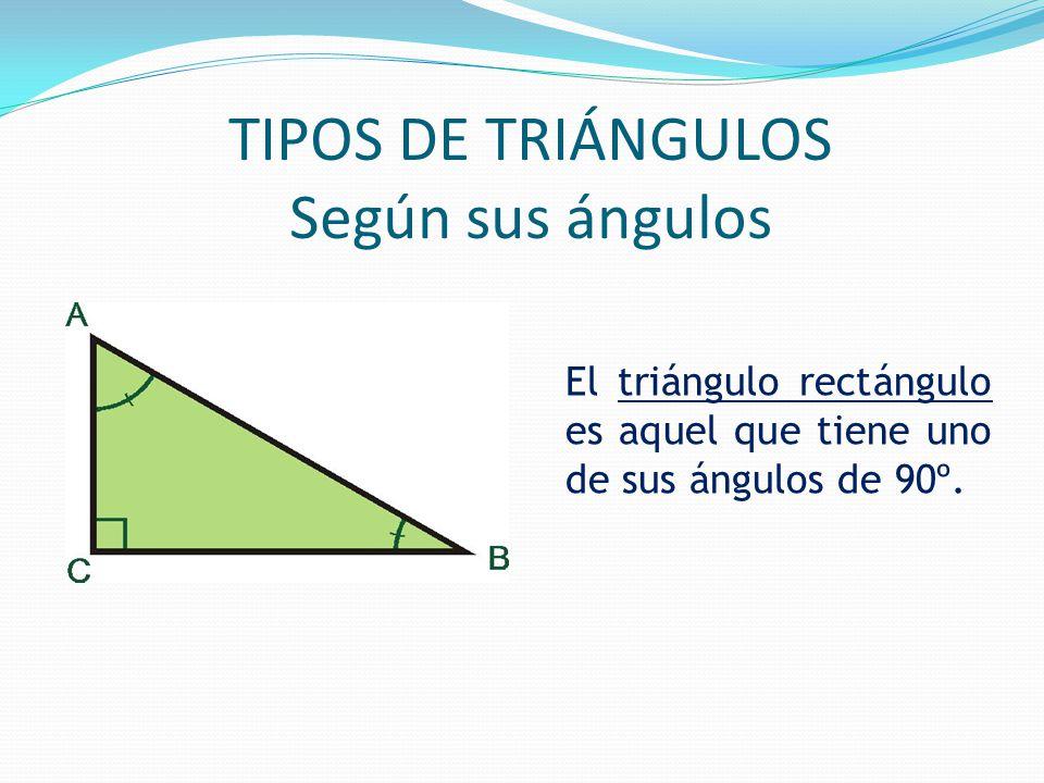 TIPOS DE TRIÁNGULOS Según sus ángulos El triángulo rectángulo es aquel que tiene uno de sus ángulos de 90º.