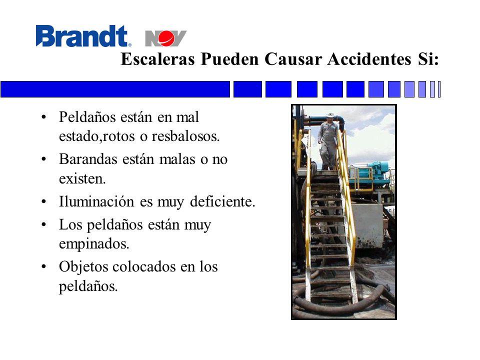Escaleras Pueden Causar Accidentes Si: Peldaños están en mal estado,rotos o resbalosos. Barandas están malas o no existen. Iluminación es muy deficien