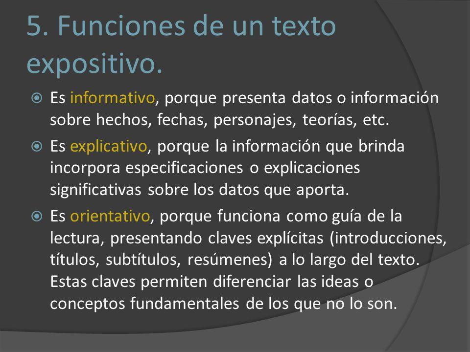 5.Funciones de un texto expositivo.