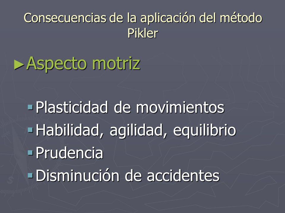 Consecuencias de la aplicación del método Pikler ► Aspecto motriz  Plasticidad de movimientos  Habilidad, agilidad, equilibrio  Prudencia  Disminución de accidentes