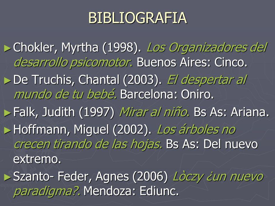 BIBLIOGRAFIA ► Chokler, Myrtha (1998).Los Organizadores del desarrollo psicomotor.