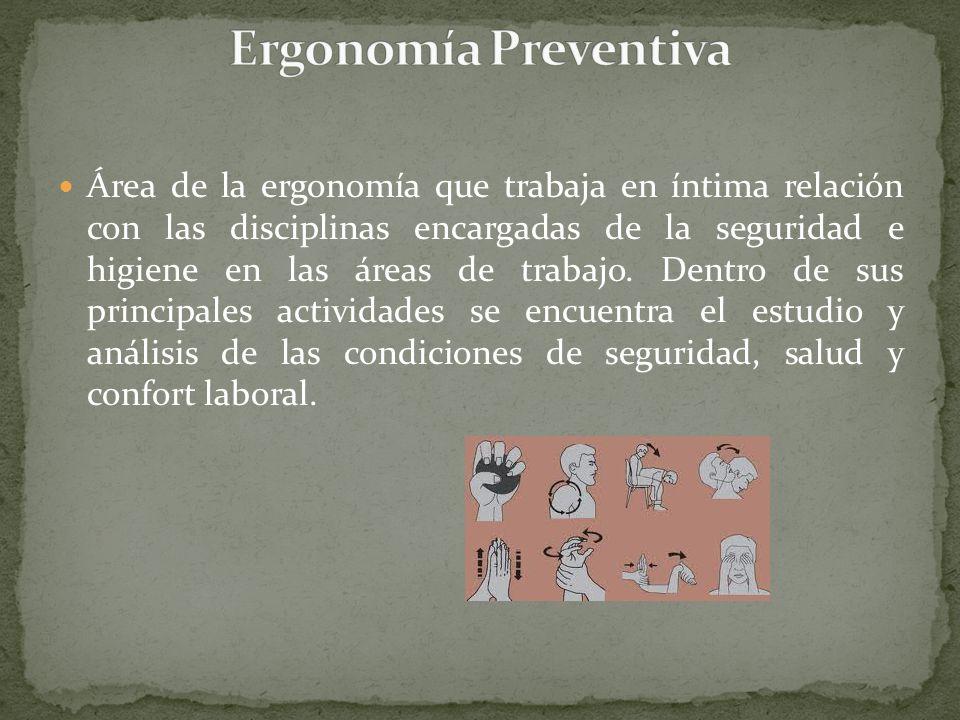 Área de la ergonomía que trabaja en íntima relación con las disciplinas encargadas de la seguridad e higiene en las áreas de trabajo. Dentro de sus pr