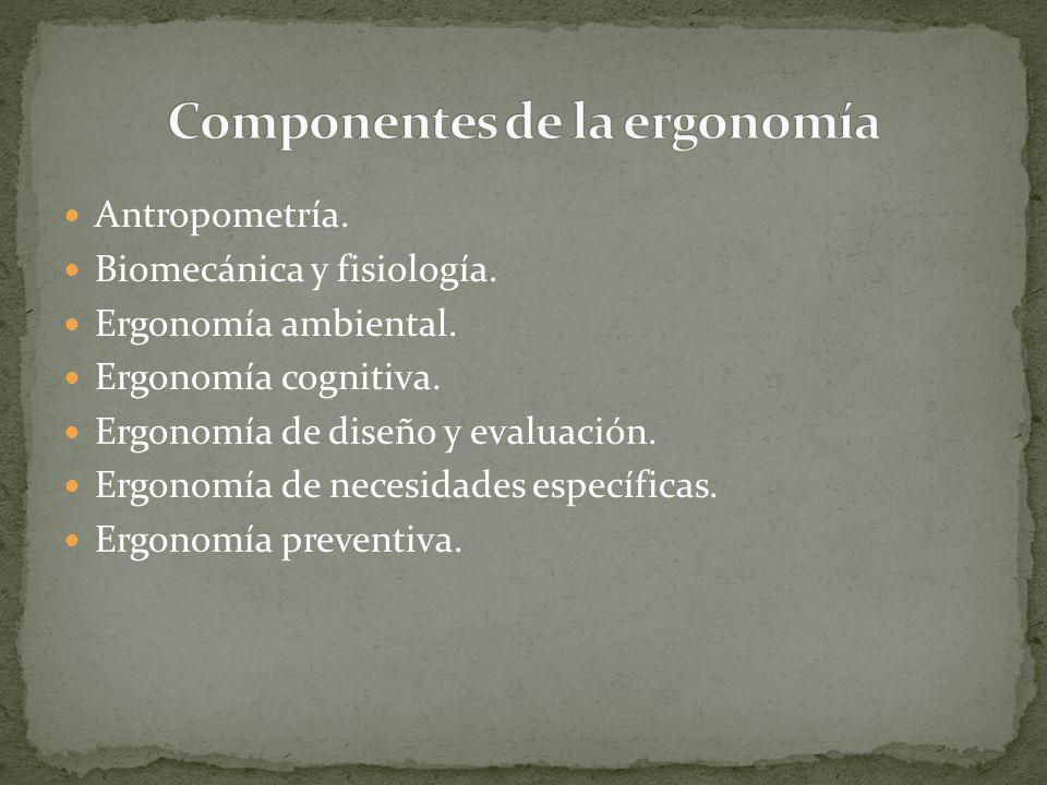 Antropometría. Biomecánica y fisiología. Ergonomía ambiental. Ergonomía cognitiva. Ergonomía de diseño y evaluación. Ergonomía de necesidades específi