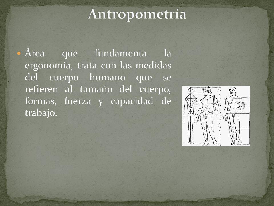 Área de la ergonomía, se dedica al estudio del cuerpo humano desde el punto de vista de la mecánica clásica y la biología, también se basa en el conjunto de conocimientos de la medicina del trabajo, la fisiología, la antropometría y la antropología