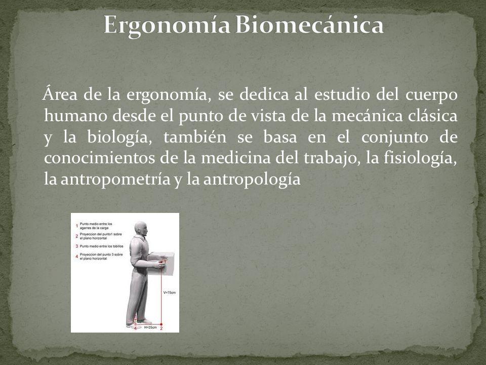 Área de la ergonomía, se dedica al estudio del cuerpo humano desde el punto de vista de la mecánica clásica y la biología, también se basa en el conju