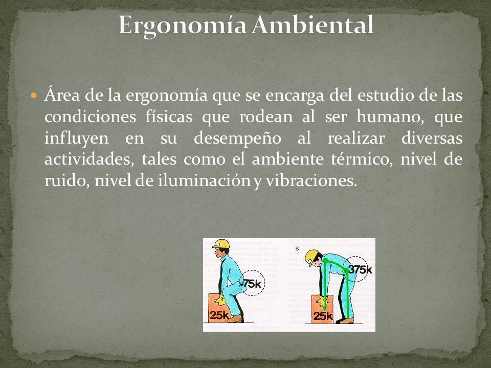 Área de la ergonomía que se encarga del estudio de las condiciones físicas que rodean al ser humano, que influyen en su desempeño al realizar diversas