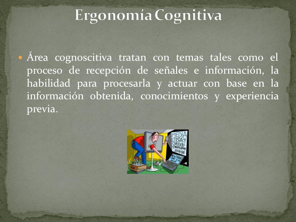 Área cognoscitiva tratan con temas tales como el proceso de recepción de señales e información, la habilidad para procesarla y actuar con base en la i