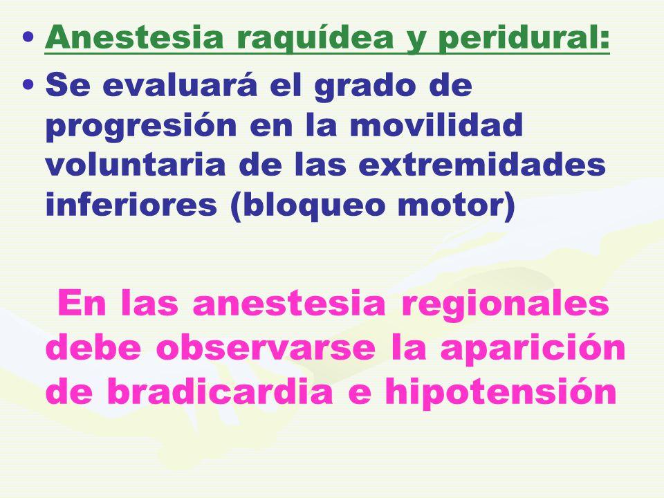 Anestesia raquídea y peridural: Se evaluará el grado de progresión en la movilidad voluntaria de las extremidades inferiores (bloqueo motor) En las an