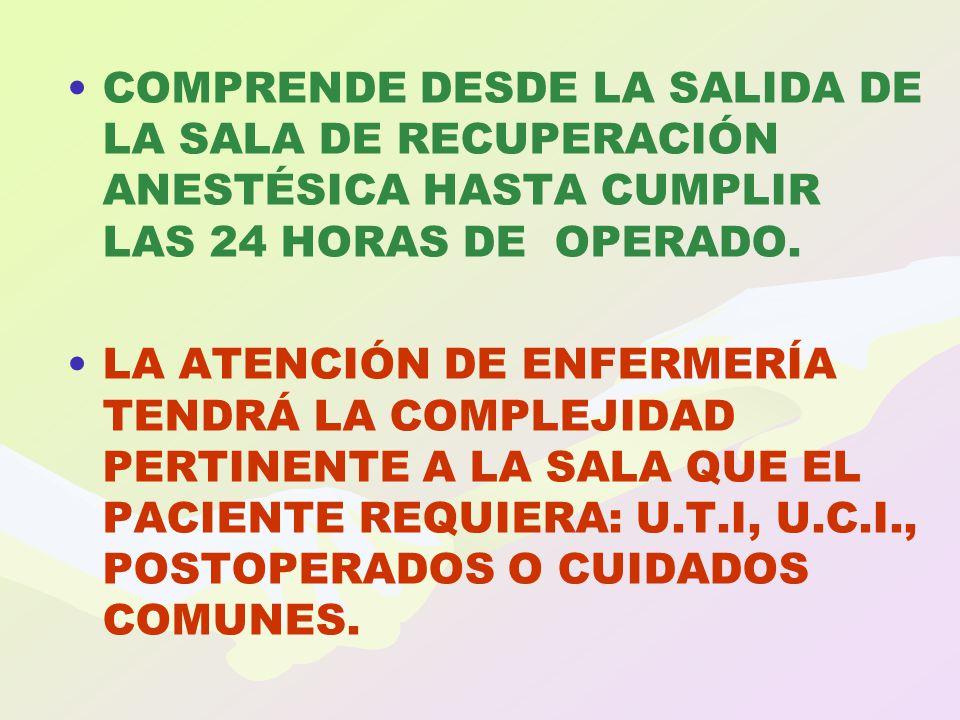 COMPRENDE DESDE LA SALIDA DE LA SALA DE RECUPERACIÓN ANESTÉSICA HASTA CUMPLIR LAS 24 HORAS DE OPERADO. LA ATENCIÓN DE ENFERMERÍA TENDRÁ LA COMPLEJIDAD