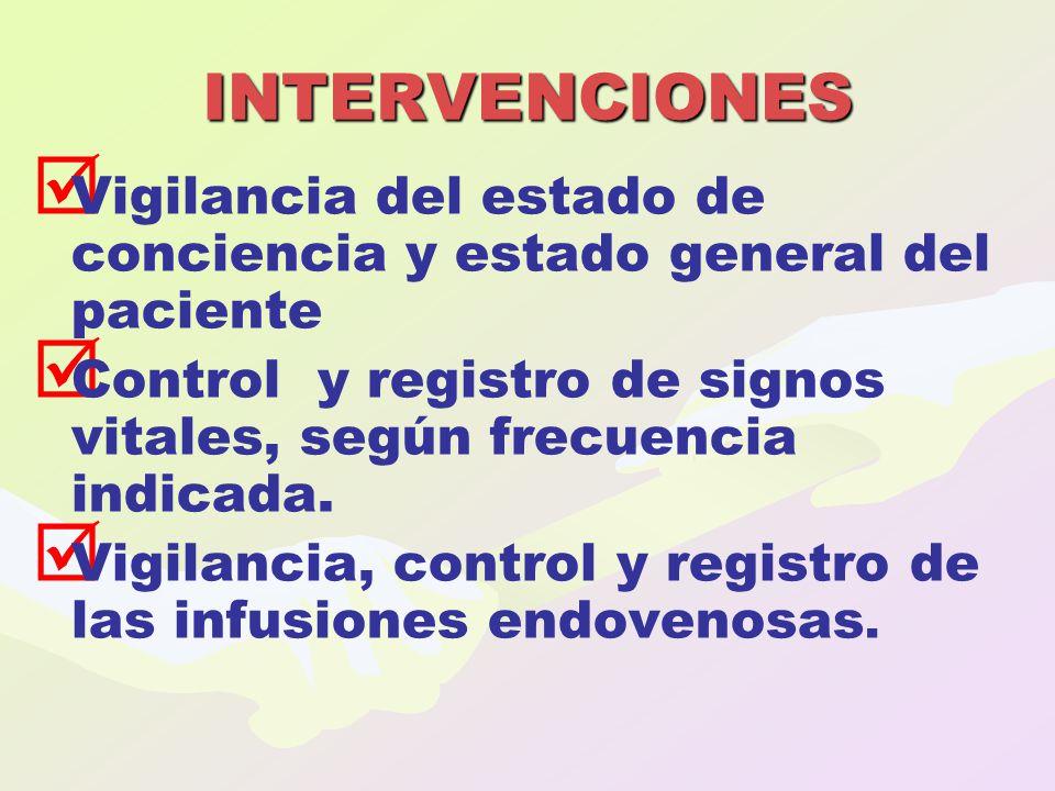   Vigilancia del estado de conciencia y estado general del paciente   Control y registro de signos vitales, según frecuencia indicada.   Vigilan