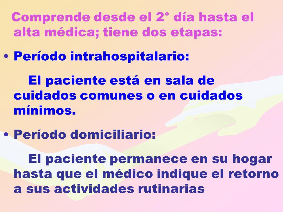 Comprende desde el 2° día hasta el alta médica; tiene dos etapas: Período intrahospitalario: El paciente está en sala de cuidados comunes o en cuidado