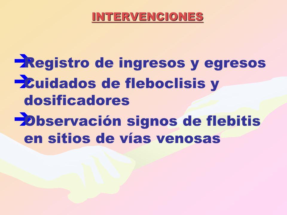 INTERVENCIONES   Registro de ingresos y egresos   Cuidados de fleboclisis y dosificadores   Observación signos de flebitis en sitios de vías ven