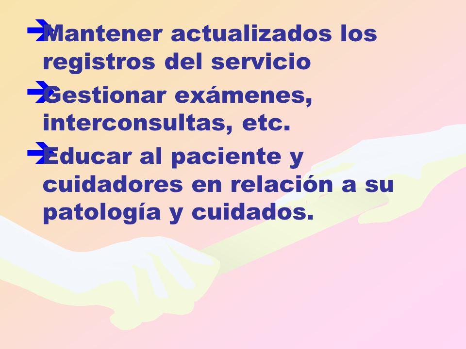   Mantener actualizados los registros del servicio   Gestionar exámenes, interconsultas, etc.   Educar al paciente y cuidadores en relación a su