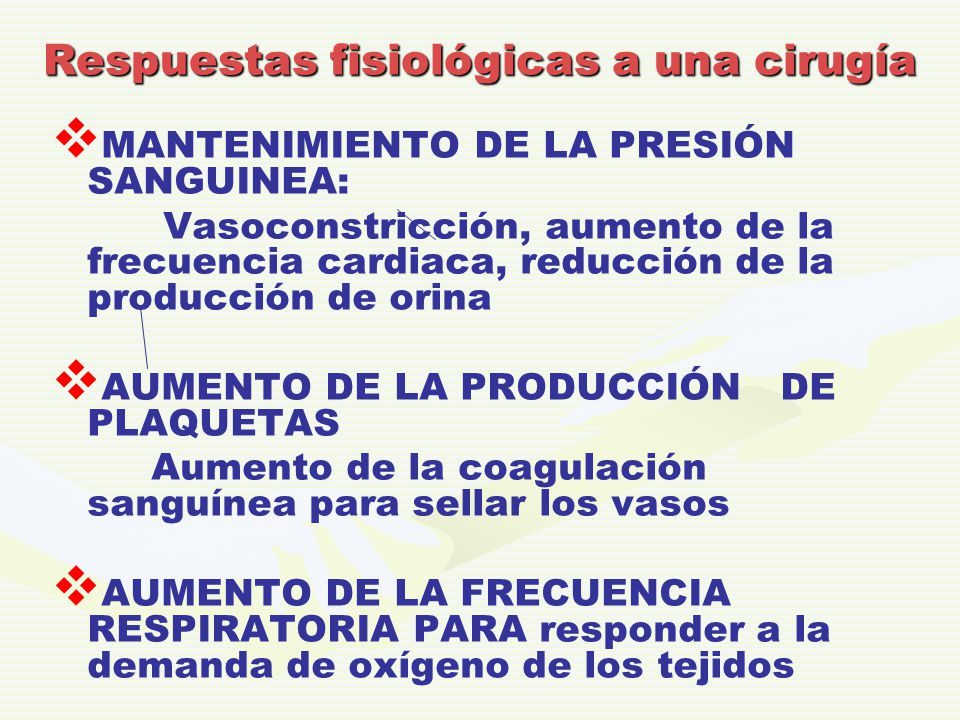 Respuestas fisiológicas a una cirugía   MANTENIMIENTO DE LA PRESIÓN SANGUINEA: Vasoconstricción, aumento de la frecuencia cardiaca, reducción de la