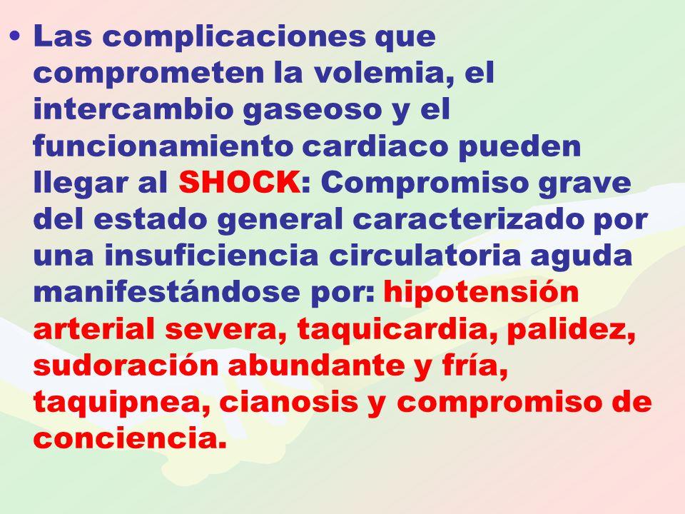 Las complicaciones que comprometen la volemia, el intercambio gaseoso y el funcionamiento cardiaco pueden llegar al SHOCK: Compromiso grave del estado