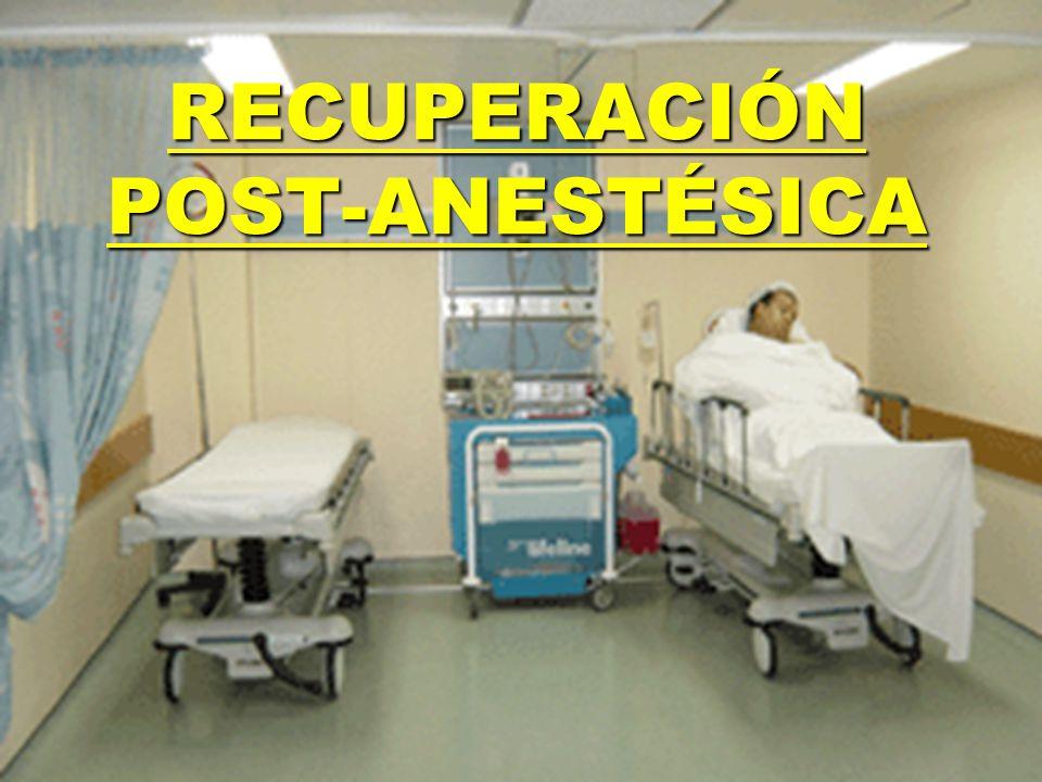 Desde 0 a 6 horas de operado en una sala especialmente habilitada: SALA DE RECUPERACIÓN ANESTÉSICA (S.R.A.) Debe realizarse una completa e intensiva observación del paciente, además de iniciar el cumplimiento de las indicaciones médicas y de enfermería.