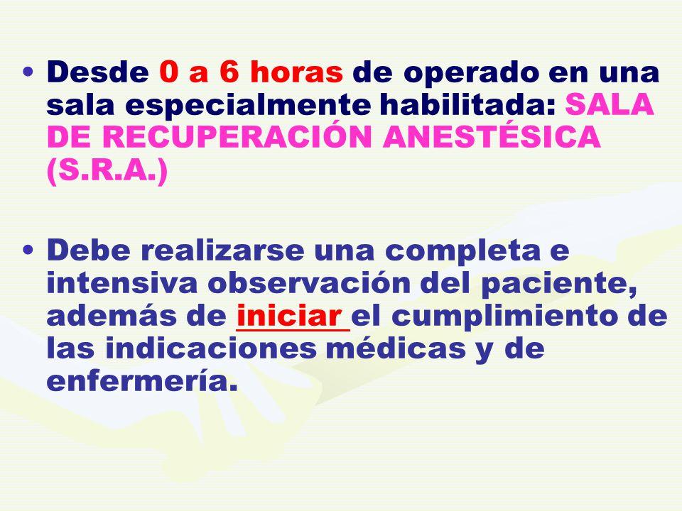 Desde 0 a 6 horas de operado en una sala especialmente habilitada: SALA DE RECUPERACIÓN ANESTÉSICA (S.R.A.) Debe realizarse una completa e intensiva o