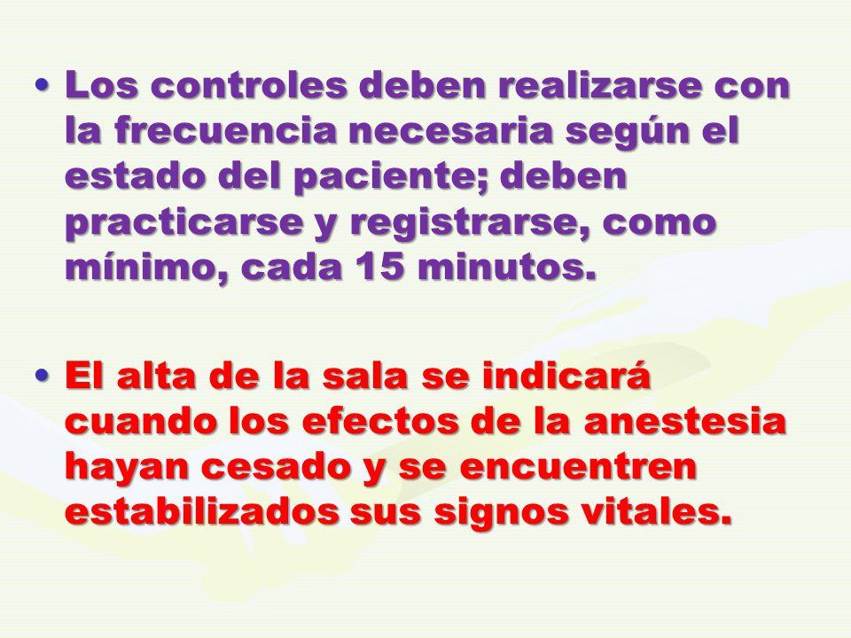 Los controles deben realizarse con la frecuencia necesaria según el estado del paciente; deben practicarse y registrarse, como mínimo, cada 15 minutos