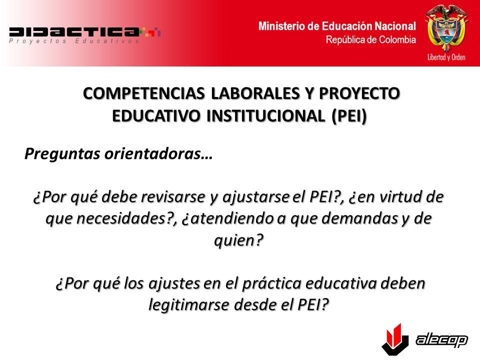 COMPETENCIAS LABORALES Y PROYECTO EDUCATIVO INSTITUCIONAL (PEI) COMPETENCIAS LABORALES Y PROYECTO EDUCATIVO INSTITUCIONAL (PEI) Premisas de partida: PEI: Instrumento organizador y guía de la gestión y acción pedagógica, propicio para el desarrollo integral de la comunidad educativa en función de un proceso enseñanza-aprendizaje de calidad que permite a los protagonistas de dicho proceso adaptarse a las exigencias del mundo actual.