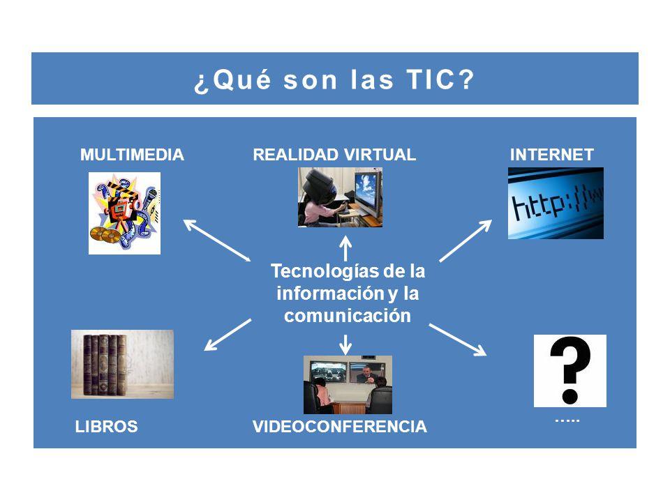 ¿Qué son las TIC.MULTIMEDIAREALIDAD VIRTUAL VIDEOCONFERENCIALIBROS INTERNET …..