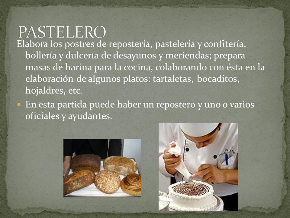 Elabora los postres de repostería, pastelería y confitería, bollería y dulcería de desayunos y meriendas; prepara masas de harina para la cocina, cola