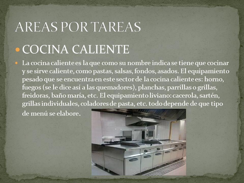 COCINA CALIENTE La cocina caliente es la que como su nombre indica se tiene que cocinar y se sirve caliente, como pastas, salsas, fondos, asados.