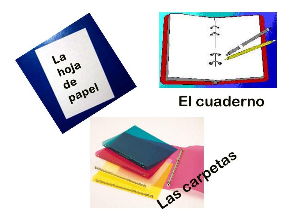La hoja de papel El cuaderno Las carpetas
