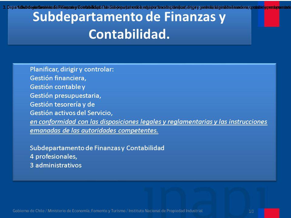 10 Subdepartamento de Abastecimiento y Servicios Generales.