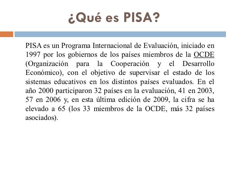 Características de PISA  Duración: 15 años  Finalidad: evaluar cada tres años tres áreas cognitivas (lectura, matemáticas y ciencias)  Destinado a alumnos de 15 años  Un estudio llevado a cabo en 43 países en el primer ciclo (32 en 2000 y 11 en 2002), 41 países en el segundo ciclo (2003) y 56 en el tercer ciclo (2006).