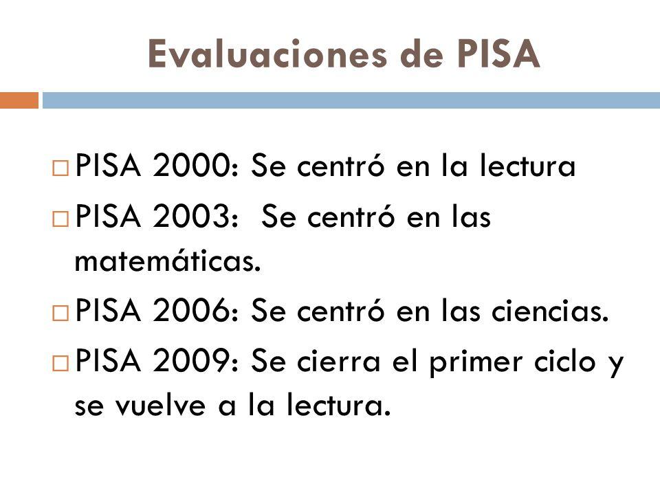 Evaluaciones de PISA  PISA 2000: Se centró en la lectura  PISA 2003: Se centró en las matemáticas.  PISA 2006: Se centró en las ciencias.  PISA 20