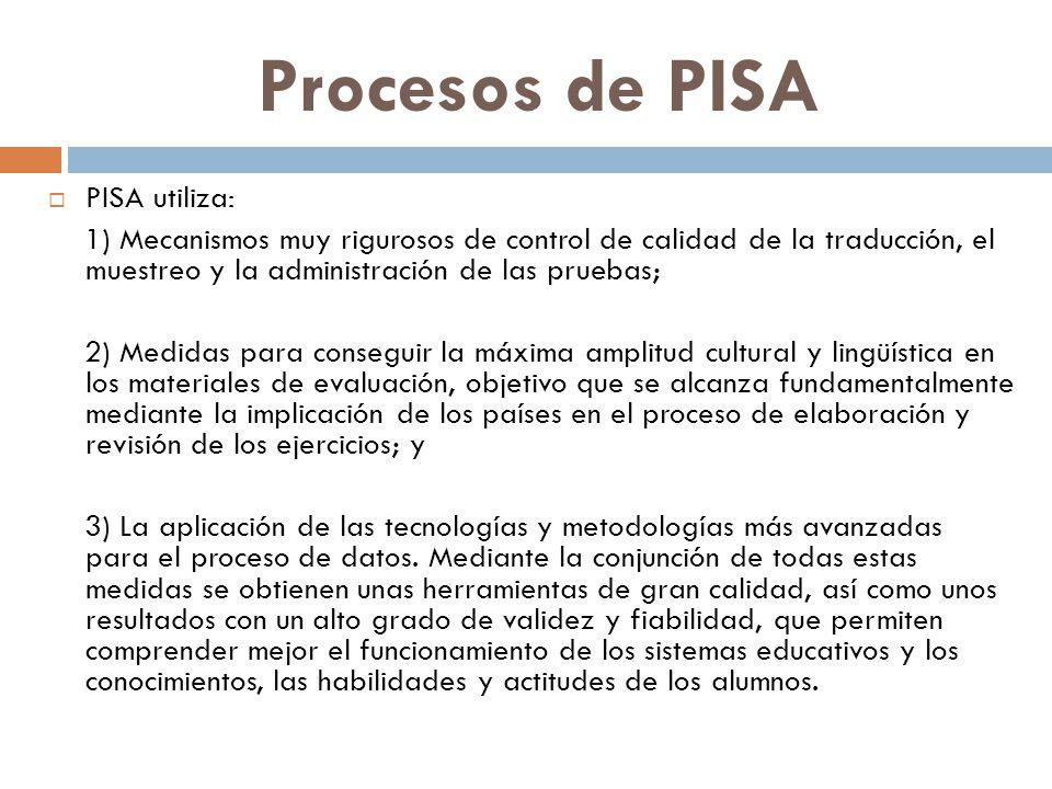Procesos de PISA  PISA utiliza: 1) Mecanismos muy rigurosos de control de calidad de la traducción, el muestreo y la administración de las pruebas; 2