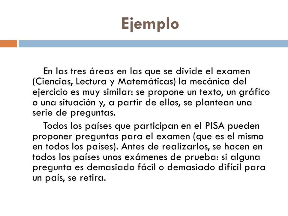 Ejemplo En las tres áreas en las que se divide el examen (Ciencias, Lectura y Matemáticas) la mecánica del ejercicio es muy similar: se propone un tex