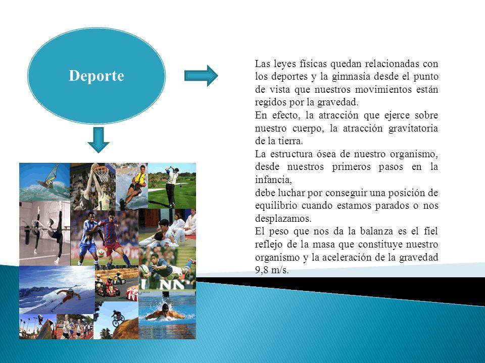 Deporte Las leyes físicas quedan relacionadas con los deportes y la gimnasia desde el punto de vista que nuestros movimientos están regidos por la gravedad.