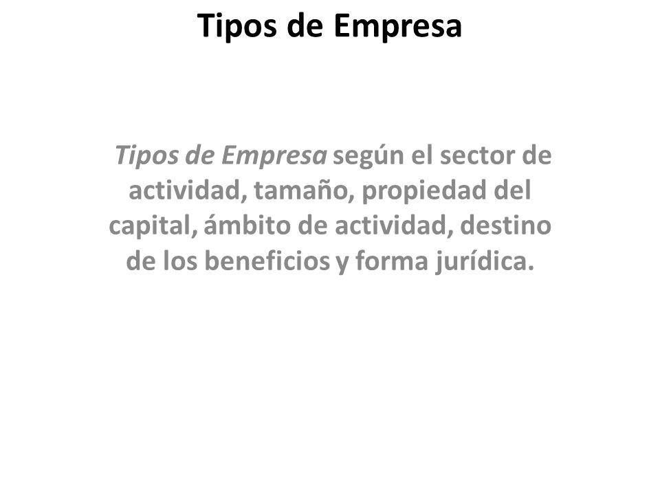 Tipos de Empresa Tipos de Empresa según el sector de actividad, tamaño, propiedad del capital, ámbito de actividad, destino de los beneficios y forma jurídica.