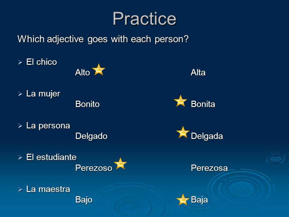 Practice Which adjective goes with each person.