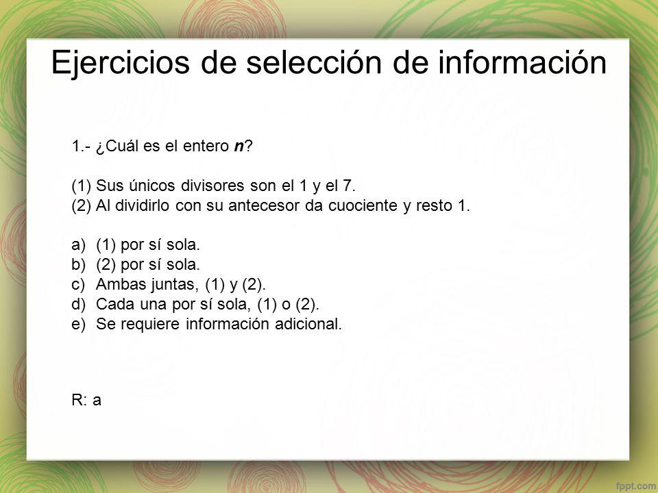 Ejercicios de selección de información 1.- ¿Cuál es el entero n.
