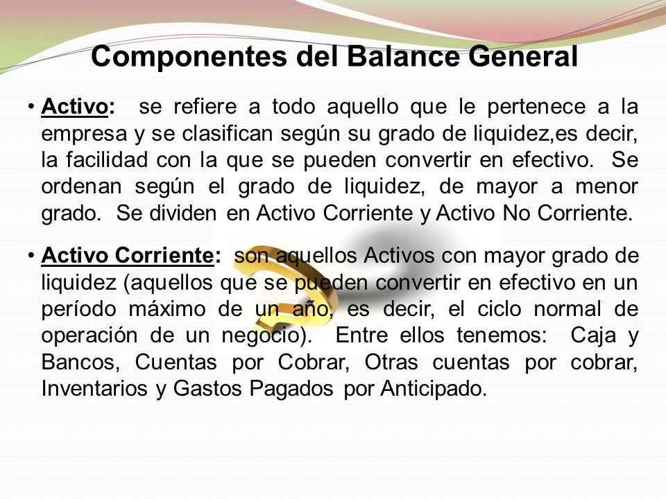 Componentes del Balance General Activo: se refiere a todo aquello que le pertenece a la empresa y se clasifican según su grado de liquidez,es decir, l