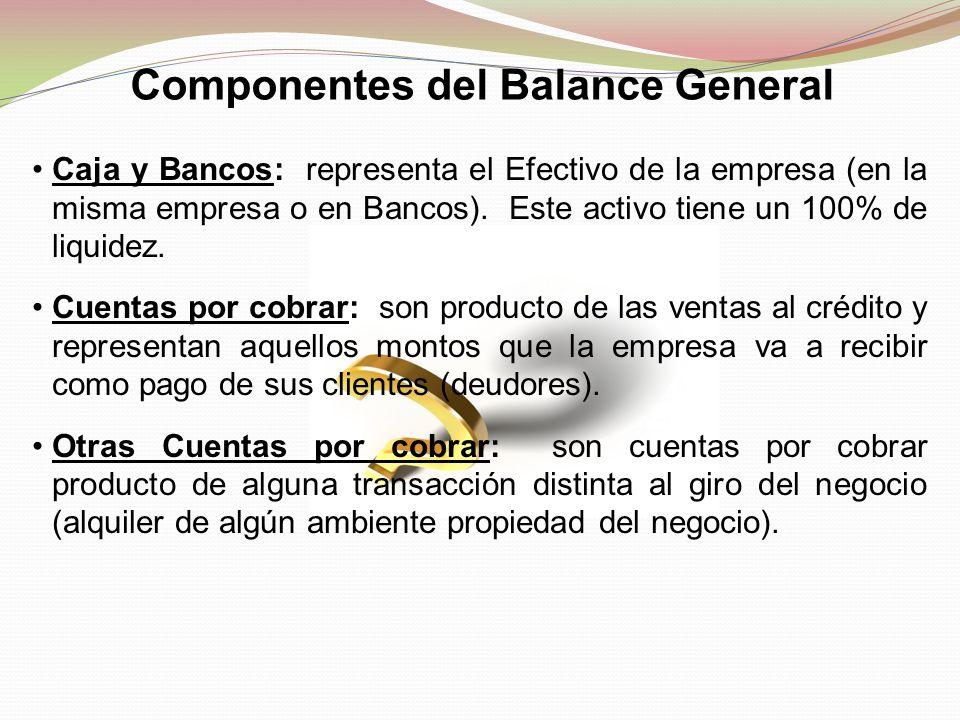 Componentes del Balance General Caja y Bancos: representa el Efectivo de la empresa (en la misma empresa o en Bancos). Este activo tiene un 100% de li