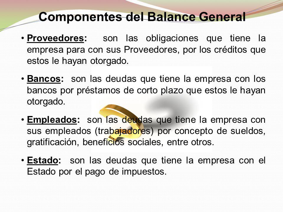 Proveedores: son las obligaciones que tiene la empresa para con sus Proveedores, por los créditos que estos le hayan otorgado. Bancos: son las deudas