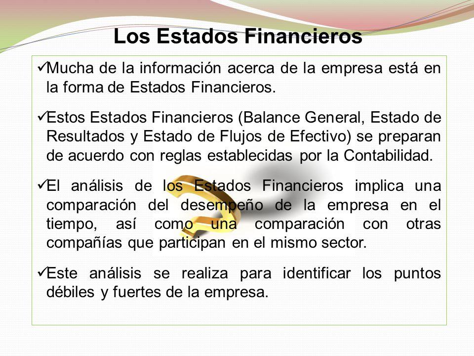 Los Estados Financieros Mucha de la información acerca de la empresa está en la forma de Estados Financieros. Estos Estados Financieros (Balance Gener