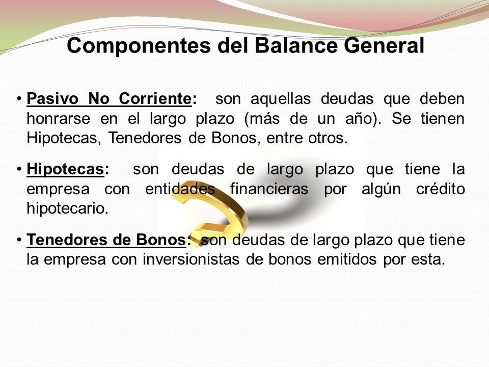Pasivo No Corriente: son aquellas deudas que deben honrarse en el largo plazo (más de un año). Se tienen Hipotecas, Tenedores de Bonos, entre otros. H
