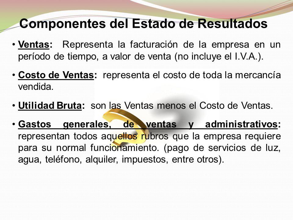 Componentes del Estado de Resultados Ventas: Representa la facturación de la empresa en un período de tiempo, a valor de venta (no incluye el I.V.A.).