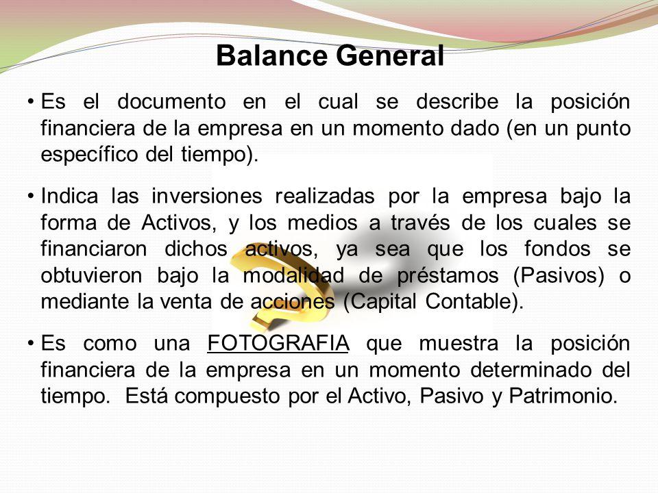 Balance General Es el documento en el cual se describe la posición financiera de la empresa en un momento dado (en un punto específico del tiempo). In