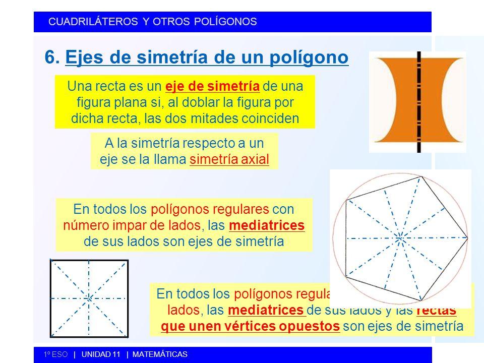 6. Ejes de simetría de un polígono CUADRILÁTEROS Y OTROS POLÍGONOS 1º ESO   UNIDAD 11   MATEMÁTICAS Una recta es un eje de simetría de una figura plan