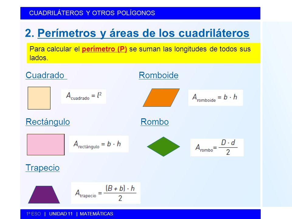 CUADRILÁTEROS Y OTROS POLÍGONOS 1º ESO   UNIDAD 11   MATEMÁTICAS Cuadrado Romboide Rectángulo Rombo Trapecio 2. Perímetros y áreas de los cuadrilátero