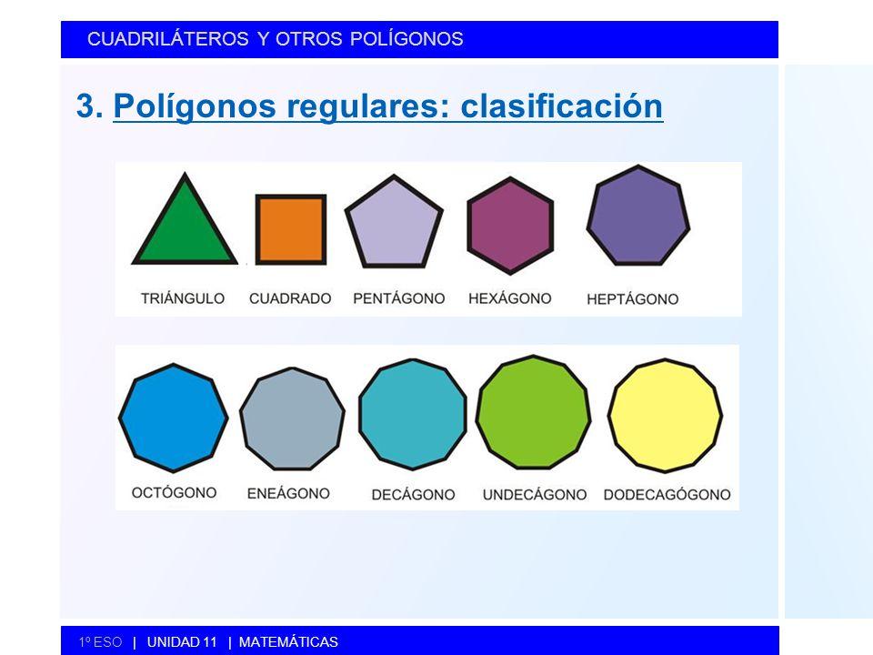 3. Polígonos regulares: clasificación CUADRILÁTEROS Y OTROS POLÍGONOS 1º ESO   UNIDAD 11   MATEMÁTICAS